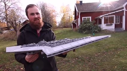 This genius attached a rocket to a LEGO Super Star Destroyer and blew it up