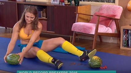 Watch this woman crush watermelons between her legs