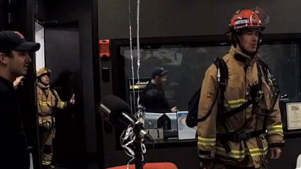 Firemen invade the studio during Free For All Friday