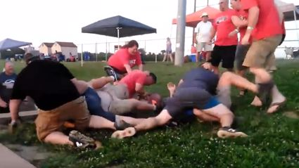 Watch this massive brawl between dads at kids softball game