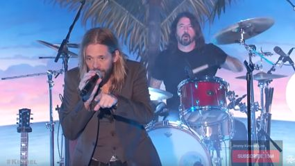 Watch Foo Fighters' Taylor Hawkins play live on Jimmy Kimmel featuring Dave Grohl & Perry Ferrel