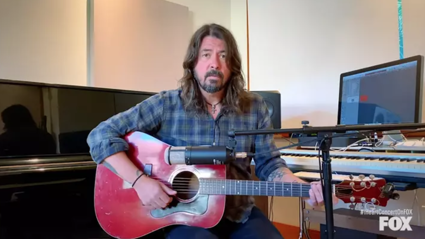 "Dave Grohl plays acoustic ""My Hero"" during Living Room Concert"