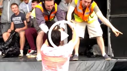 Dude Falls Into Puke Trough At Drinking Competition